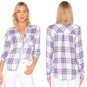 Rails NWT Hunter Button Down Top in White Sky Pink